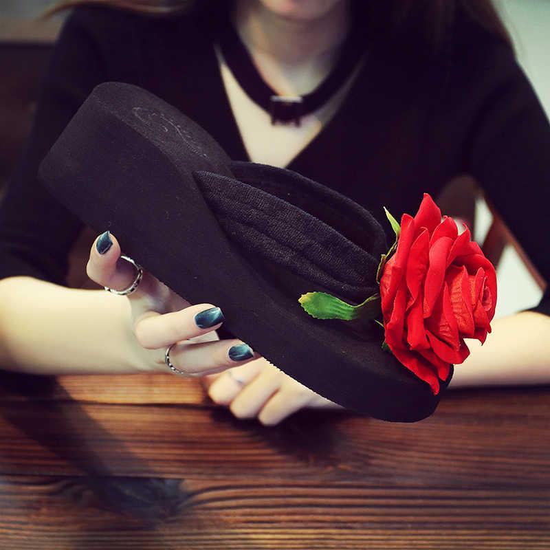 a2227e1471884d ... AShwin summer women flip flops rose flower sandals wege platform red  casual sandal bohemia slippers handmade ...
