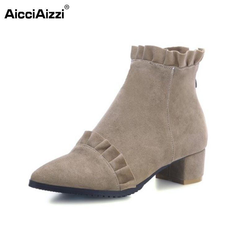AicciAizzi Size 31-46 Autumn And Winter Short Cylinder Boots High Heels Boots Shoes Martin Boots Women Ankle Boots Thick Scrub брюки шорты puma шорты вратарские puma gk shorts 701919411