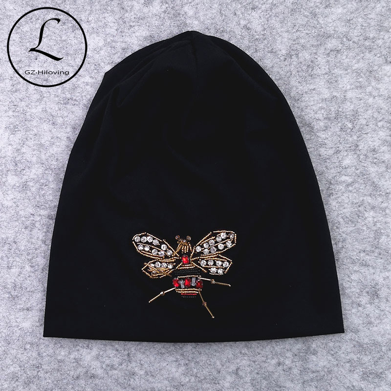 GZHilovingL 2019 New Fashion Women Bee Slouchy Hats Casual Loose Hip hop Ladies Thin Cotton Bonnet Hats Cap For Female Skullies(China)