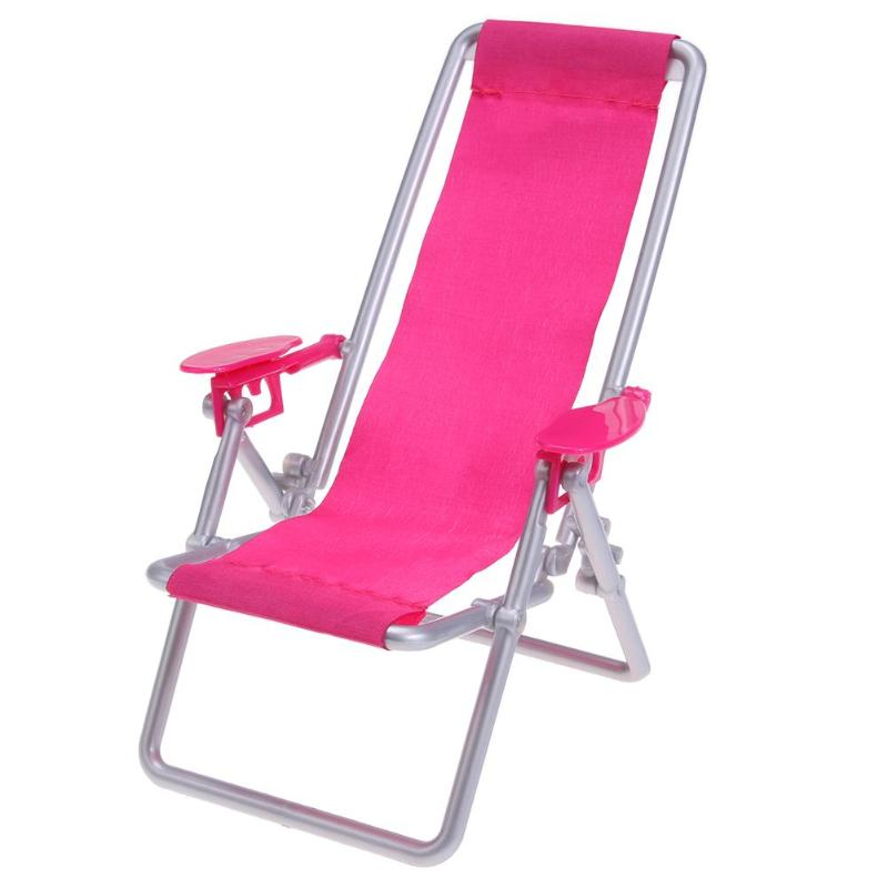 1pc Pink Foldable Deckchair Lounge Beach Chair Lovely 1:12 Miniature Furniture For Barbie Doll Toy House Accessories