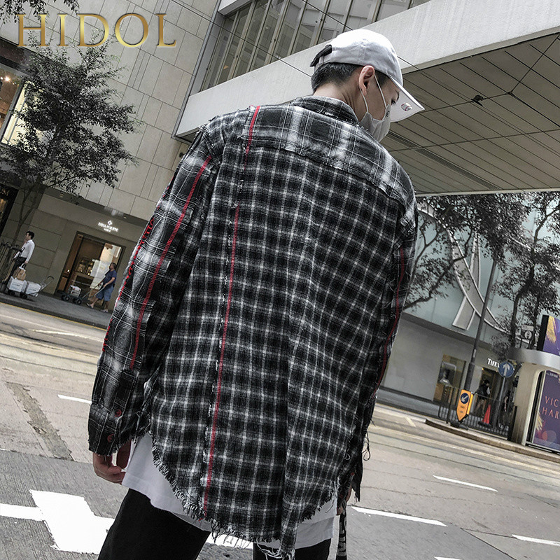 Flannel Oversize Patchwork Plaid Check Shirts High Street Hip Hop Swag Men Long Sleeve Cardigan Splice Casual Vintage Blouse