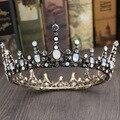 Ópalo de la vendimia Barroca Grande Cristalino de la Corona de La Boda Tiara Nupcial Del Pelo Accesorios de La Joyería Mujeres Ronda Tiaras Headwear