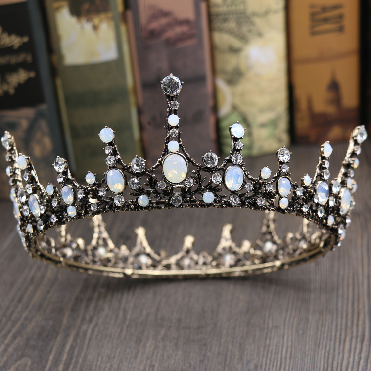 Jonnafe Vintage Opal Crystal Big Tiara Wedding Crown