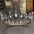 Vintage Opal Crystal Big Tiara Wedding Crown Baroque Bridal Hair Jewelry Accessories Women Round Tiaras Headwear