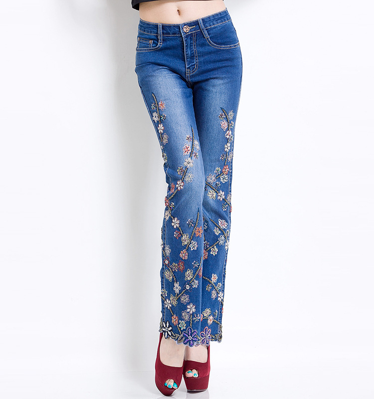 KSTUN Women Jeans with Embroidery High Waist Blue Denim Pants Bell Buttom Jeans Rhinestones Embroidered Fashion Quality Brand 17
