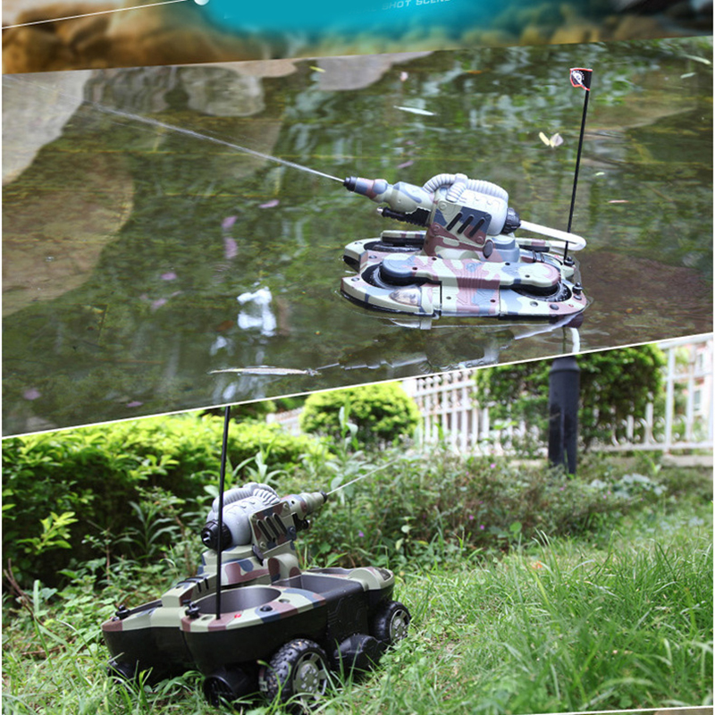 RC Tank Amphibious Radio Control Rc Kit Land Water Robotic Remote Control Tank Toy For Boys Model Rc Military Plastic Battle Toy - 2