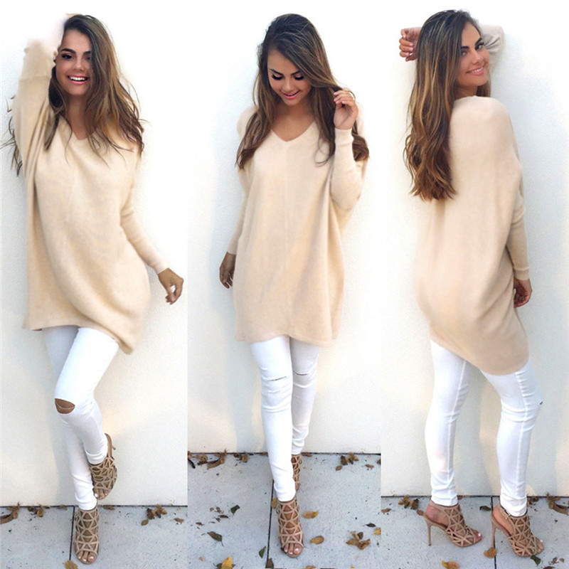 New Fasion Autumn winter Women Sweater Thin Pullover Casual Cashmere V-Neck Sexy Loose Knitting Pullover Long Sleeve Sweater