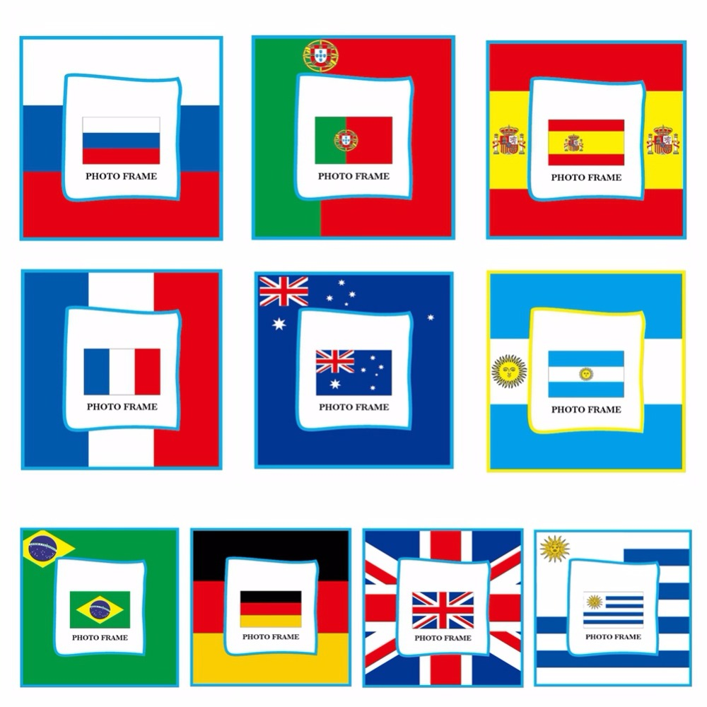 1 Piece word cup Pattern Photo Frame for Desk Gift PVC Picture Frame for Home Desk 2018 Soccer World Cup Flags