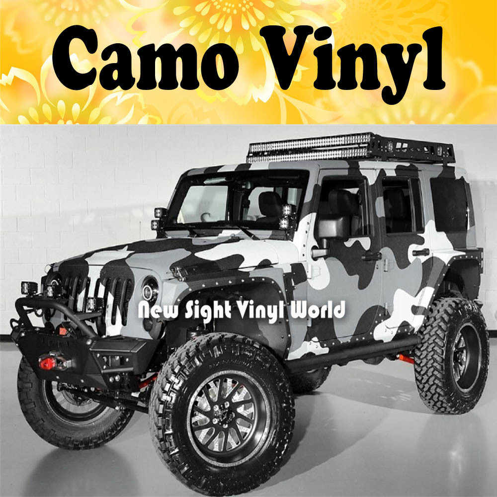 Aliexpress Com Buy Jumbo Camo Sticker Bomb Vinyl Car Wrap Black Grey White Snow Camouflage