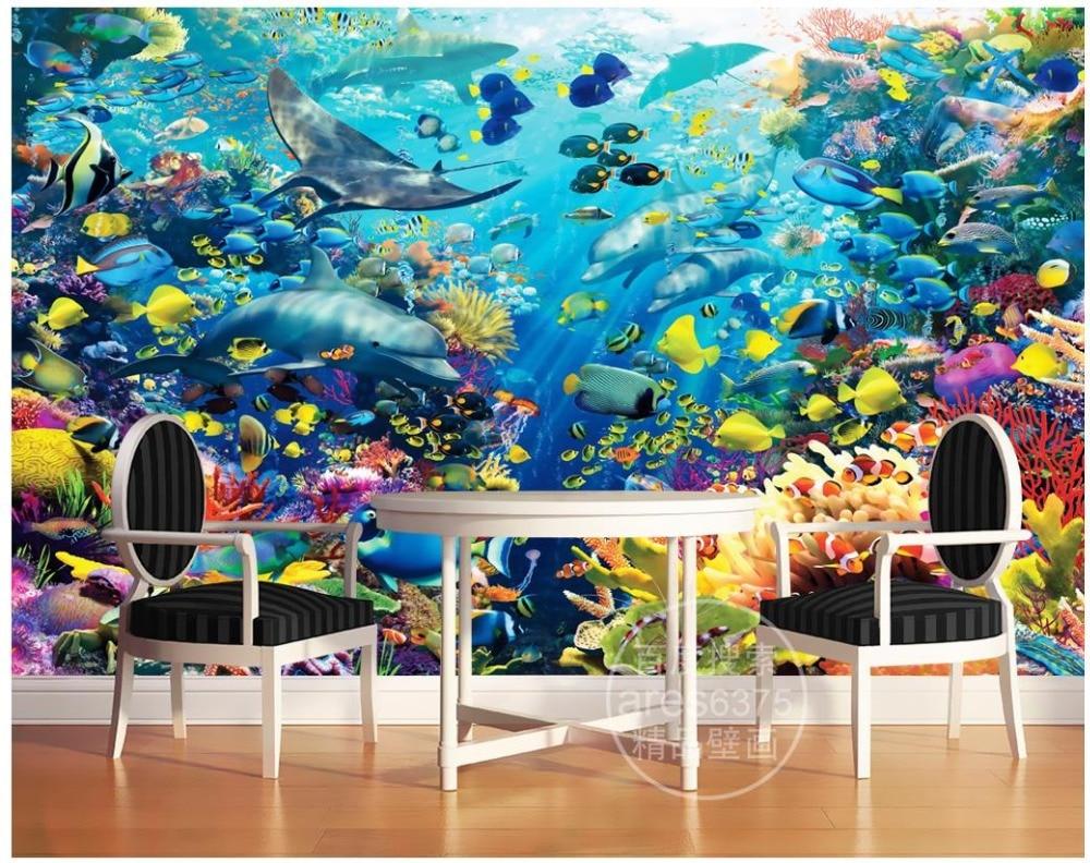 US $11 79 OFF Foto Kustom Wallpaper 3d Dinding Mural Wallpaper Tiga Dimensi Bawah Laut Dolphin Ikan Badut 3 D Mural Kertas Dinding Dekorasi Photo