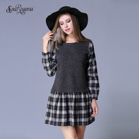 SpaRogerss Brand Autumn Women Dress 2017 New Lady Plus Size Dress Fashion Long Sleeved Grid Young