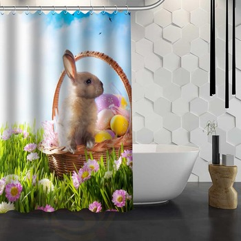 Vixm Hot Sale Custom Easter Bunny Rabbit Spring Shower Curtain Waterproof Fabric Shower Curtain for Bathroom