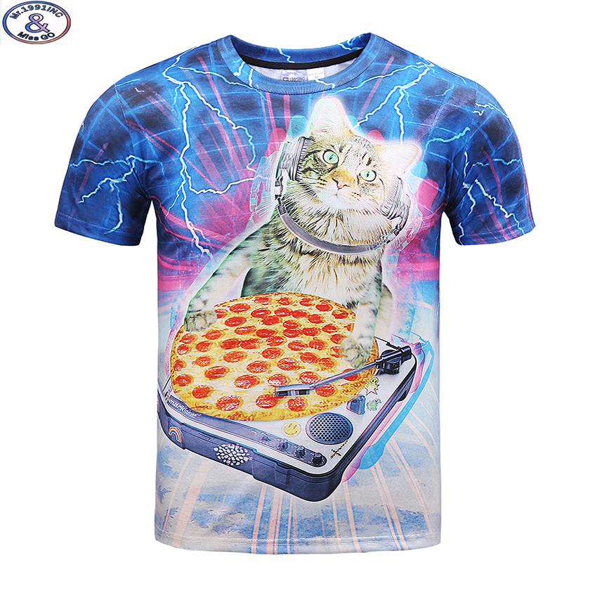 Mr 1991 Newest funny kitten eat pizza printed 3D t shirt for boys and girls summer