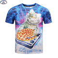 Mr.1991 Newest funny kitten eat pizza printed 3D t-shirt for boys and girls summer style cat 3D t shirt big kids tops A33