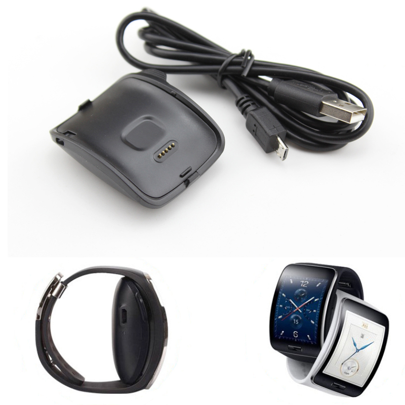 For <font><b>Samsung</b></font> Galaxy <font><b>Gear</b></font> <font><b>S</b></font> R750 Charger Desktop Smart Watch <font><b>Charging</b></font> <font><b>Dock</b></font> For Galaxy <font><b>Gear</b></font> <font><b>S</b></font> SM-R750 with USB Cable Black Cradle image