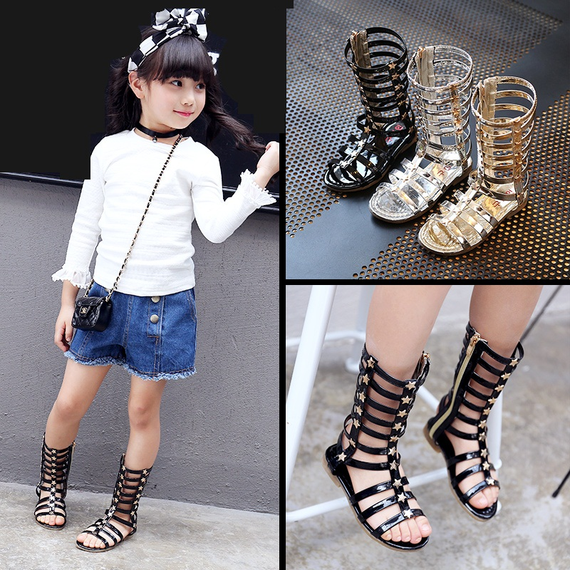 2018 Summer European version of the children's shoes Rome girl hollow woven sandals fashion open toe high cool shoes kids sandal