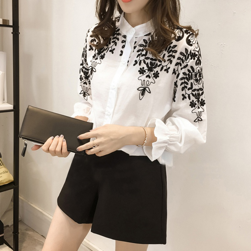 2020 Spring White Casual Blouse Women Blusas Office Button Collar Neck Long Sleeve Top Shirt Plus Size Floral Embroidery Vadim*