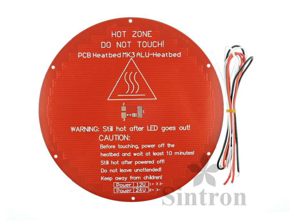 [Sintron] Free Shipping!!3D Printer Round Aluminum Plate MK3 Reprap Heated Heat Bed for Delta Rostock Kossel Mini,Thickness 3mm large buid size newest kossel k280 delta 3d printer 24v 400w power with auto level and heat bed two rolls of filament gift