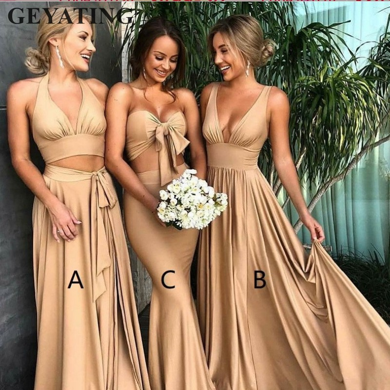 Sexy Crop Top 2 Pieces Long   Bridesmaid     Dress   2018 Mixed Style Long Party   Dresses   For Wedding Side Slit Bestidos de fiesta largos