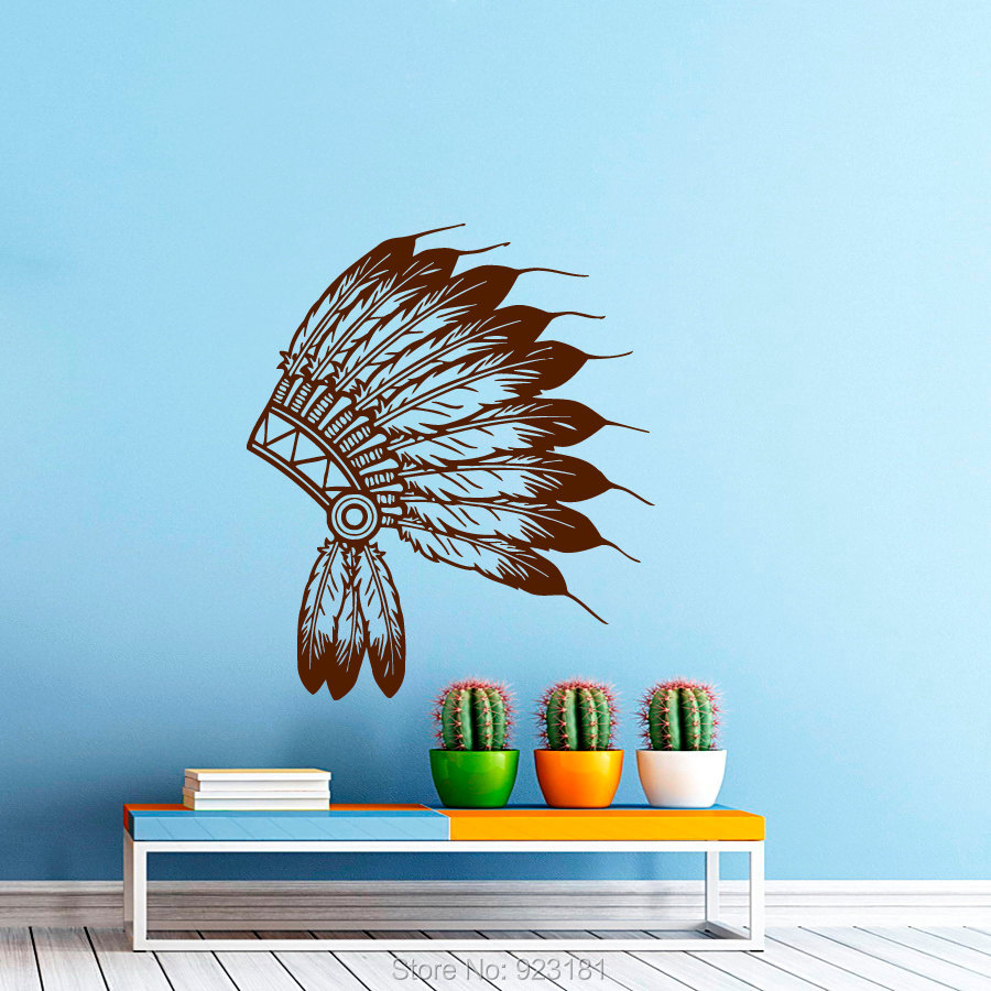 Indian Tribal Headdress Silhouette Wall Art Sticker Decal Home DIY Decoration Wall Mural Removable Room Decor Stickers 66x57cm