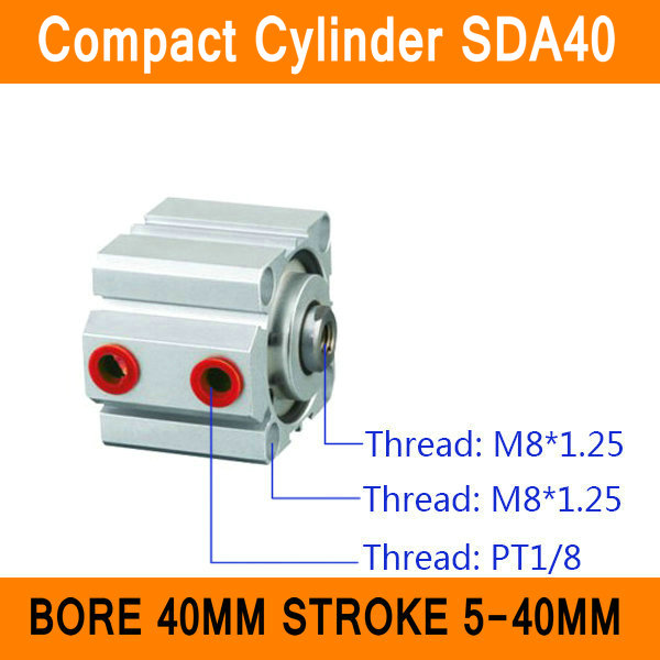 SDA40 CylinderS SDA Series Bore 40mm Stroke 5-40mm Compact Air Cylinder Dual Action Air Pneumatic Cylinder ISO Certificate pneumatic 32mm bore 40mm stroke air cylinder sda 32x40
