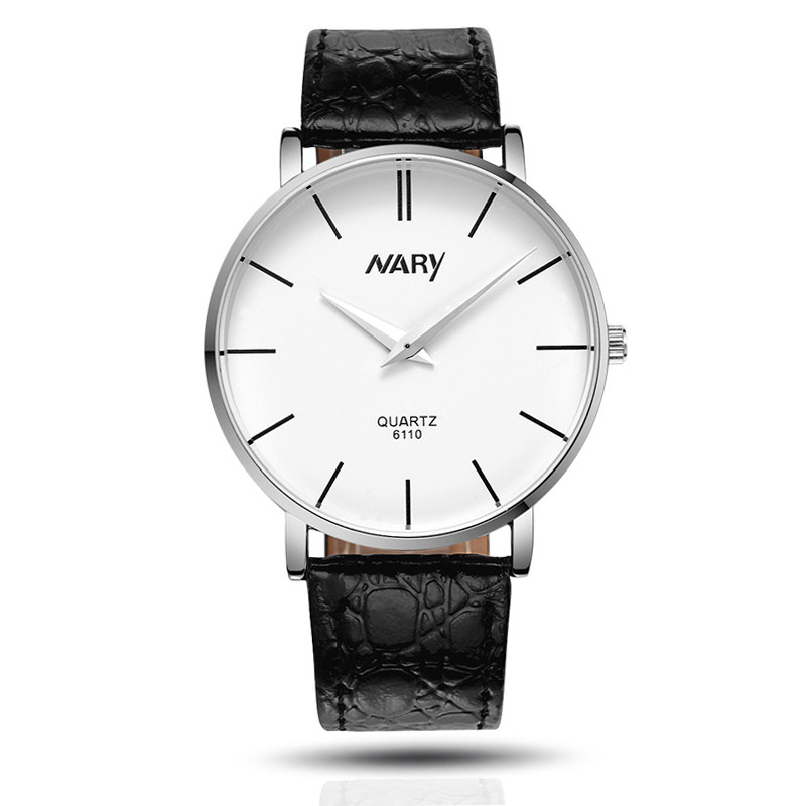 Attractive 3 Color Waterproof Men Slim Big Dial Business Sport Leather Quartz Wrist Watch JY22