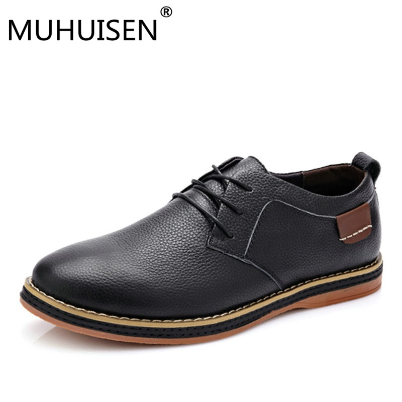 High Quality Men Flats Casual New Genuine Leather Flat Shoes Men Oxford Fashion Lace Up  ...