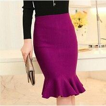Женские юбки с высокой талией,, вязанная миди юбка с рыбьим хвостом и оборками на бедрах, Saias Femininas FS0198