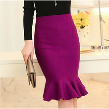 high waist skirts womens 2016 knit midi Fish Tail ruffles hip Skirt Saias Femininas FS0198