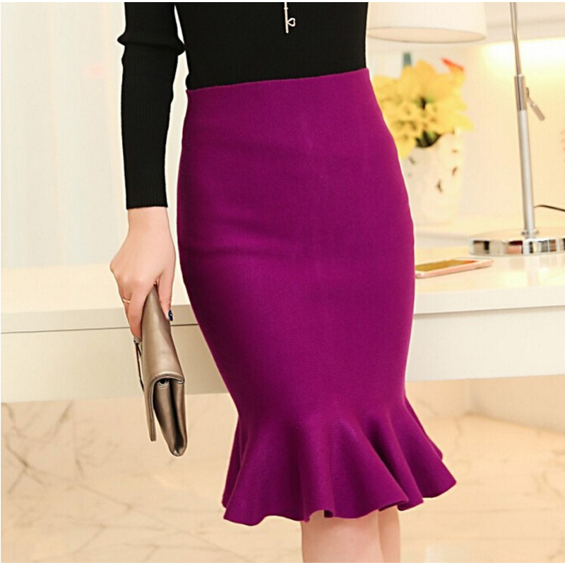 hoge taille rokken womens 2016 knit midi Fish Tail ruches hip rok Saias Femininas FS0198