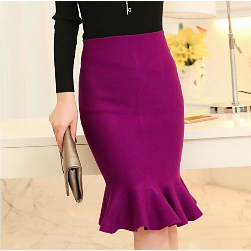 המותניים גבוהה חצאיות נשים 2016 לסרוג midi דגים זנב חצאיות היפ חצאית Saias Femininas FS0198