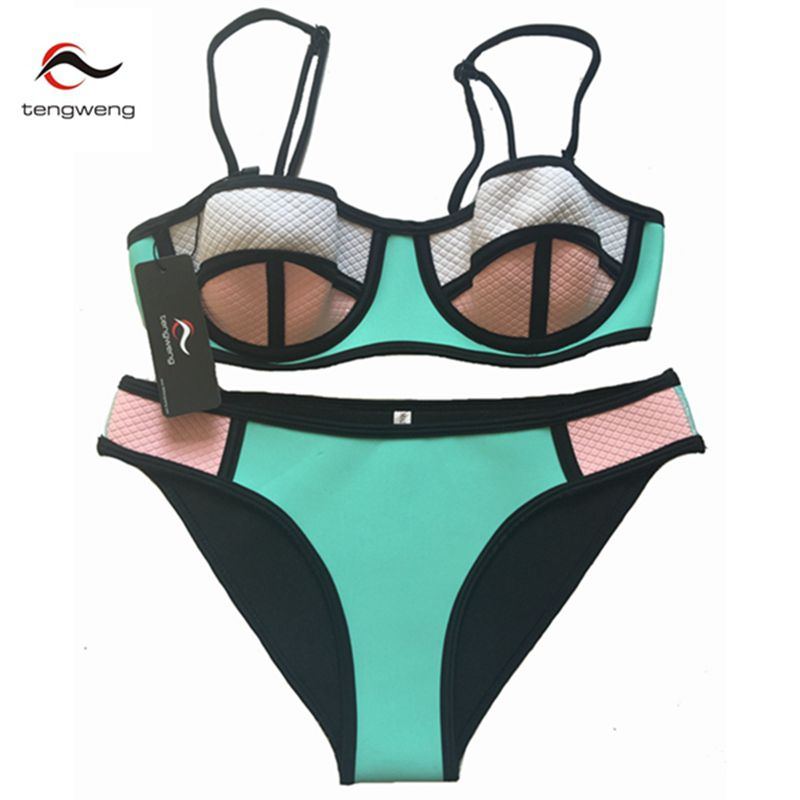 Summer 2017 Push Up Women Neoprene Bikini Set Padded Swimsuit Bandage Neoprene Swimwear Patch Bathing Suit Beachwear Brazilian 2017 new style neoprene swimsuit bikini floral neoprene bathing suits bikini set biquine push up bathing suit swimwear women