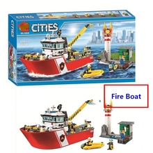 цены на New City Fire Boat Ship Rescue Team Building Blocks DIY Educational Toys Compatible With Lego 60109 Boys Best Gift Free Shipping  в интернет-магазинах