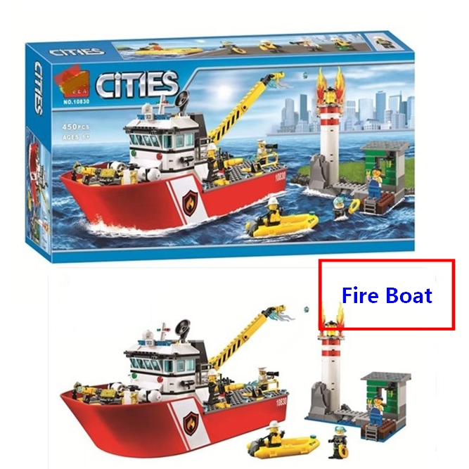 New City Fire Boat Ship Rescue Team Building Blocks DIY Educational Toys Compatible With Lego <font><b>60109</b></font> Boys Best Gift Free Shipping image