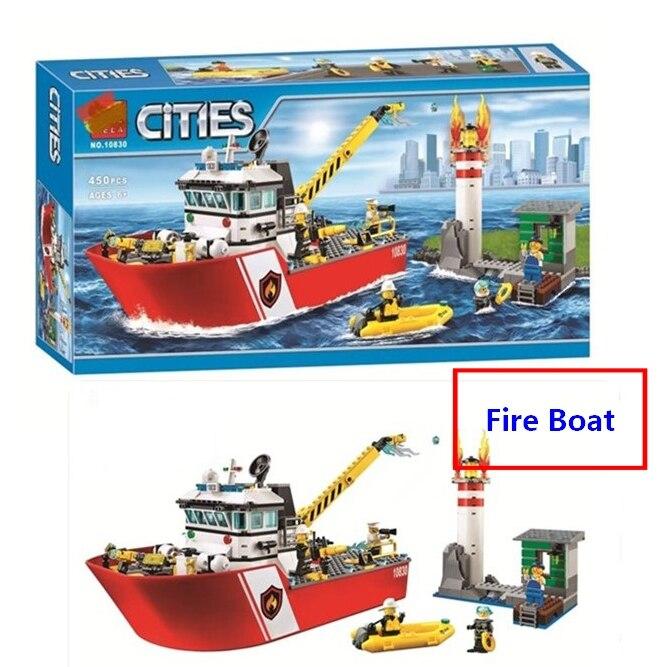 Nouvelle Ville Feu Bateau Bateau de Sauvetage Équipe Blocs de Construction DIY Jouets éducatifs Compatible Avec Lego 60109 Garçons Meilleur Cadeau Livraison gratuite