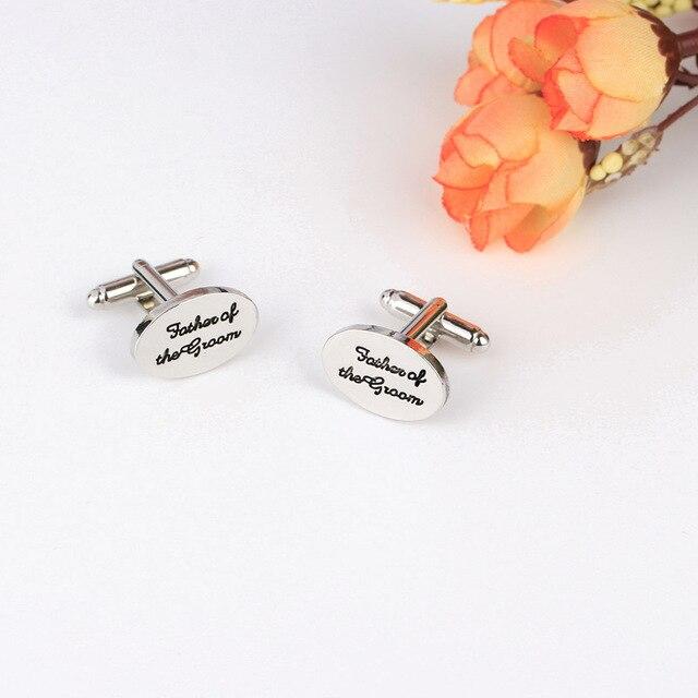 Купить мужские свадебные овальные запонки «папа жениха» посеребренные