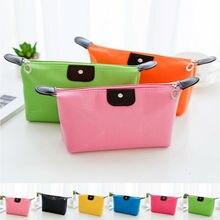 2019 New Waterproof Cosmetic Bags Women Solid Color Makeup Bag Casual Pencil Case Toiletry Storage Bag