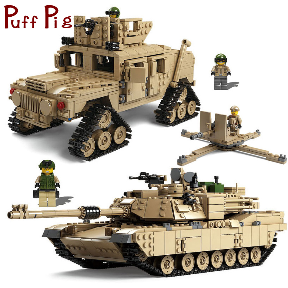 1507PCS Military M1A2 ABRAMS Tank Model Army Force Soldiers Building Blocks Compatible Legoed World War 2 Toys For Children Kids kazi 82006 world war classical german air force model military building blocks educational toy fw190 fighter plane for kids