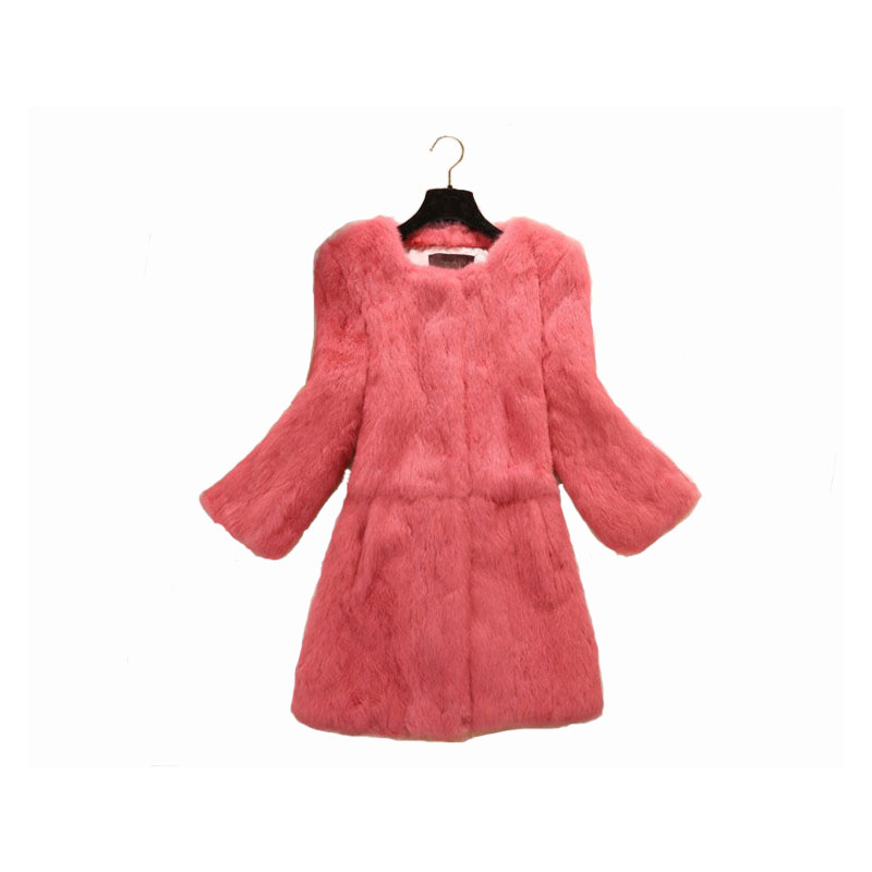 Lady Genuine Real Whole Skin Rabbit Fur Coat Jacket Autumn Winter Women Fur Outerwear Coats Female