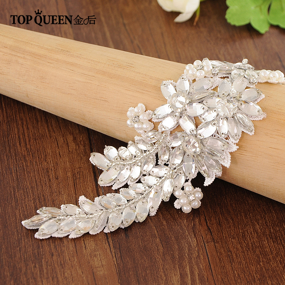 TOPQUEEN Wedding Crystal Beaded Applique Water Drop Diamond Plus Size Wedding Belt Silver Leaf Belt For Women Pearl Sash S182A