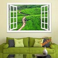 3d Tea Garden Landscpe Decals Green Large Size Wall Sticker Removable Wall Art Vinyl Decals Wallpaper