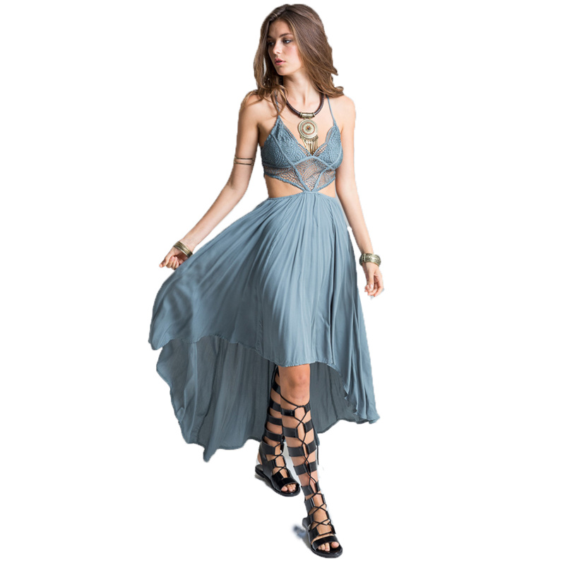 2017 Summer New Beach Poplin Bohemian Bandage Lace Bodice Cut Out High Low Maxi Sexy Long Party Dress Womens Dresses