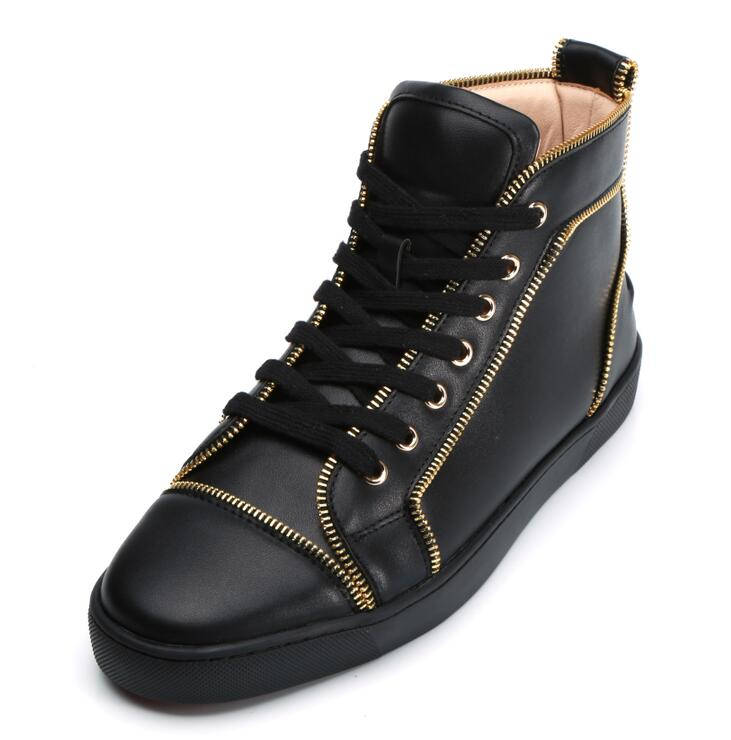 2018 Men Casual Spikes Rivets Studded Round Toe Flats Lace Up Men Shoes High Top Zipper Trainers SapatosMale Feminal Large 38-46