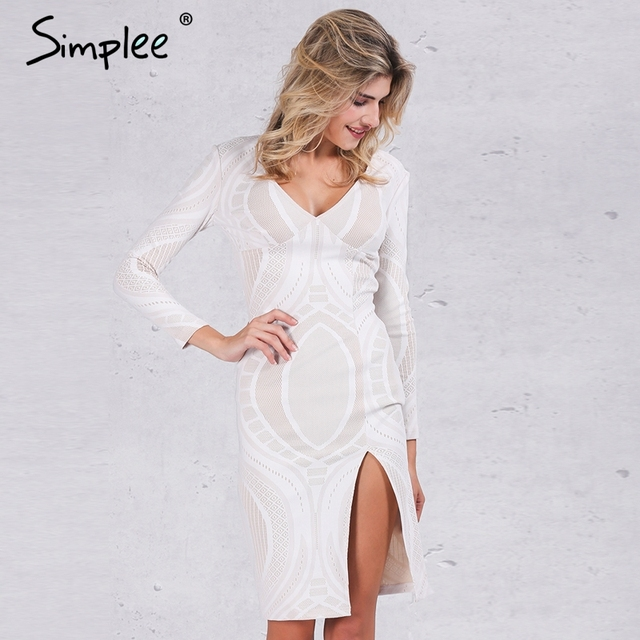 Simplee atractivo blanco del cordón del partido de bodycon dress mujeres otoño profundo v cuello delgado lápiz vestidos de partido de manga larga winter dress vestidos