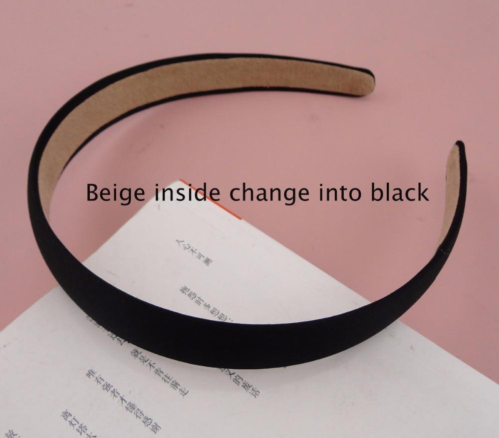 10 шт., 2,0 см, черная атласная ткань, простые пластиковые повязки для волос с бархатной спинкой, необработанные обручи для волос, аксессуары для волос DIY