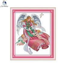 Joy Sunday Angel 4 Canvas DMC 11ct 14ct Counted Chinese Cross Stitch Kits printed  for Embroidery Home Decor Needlework