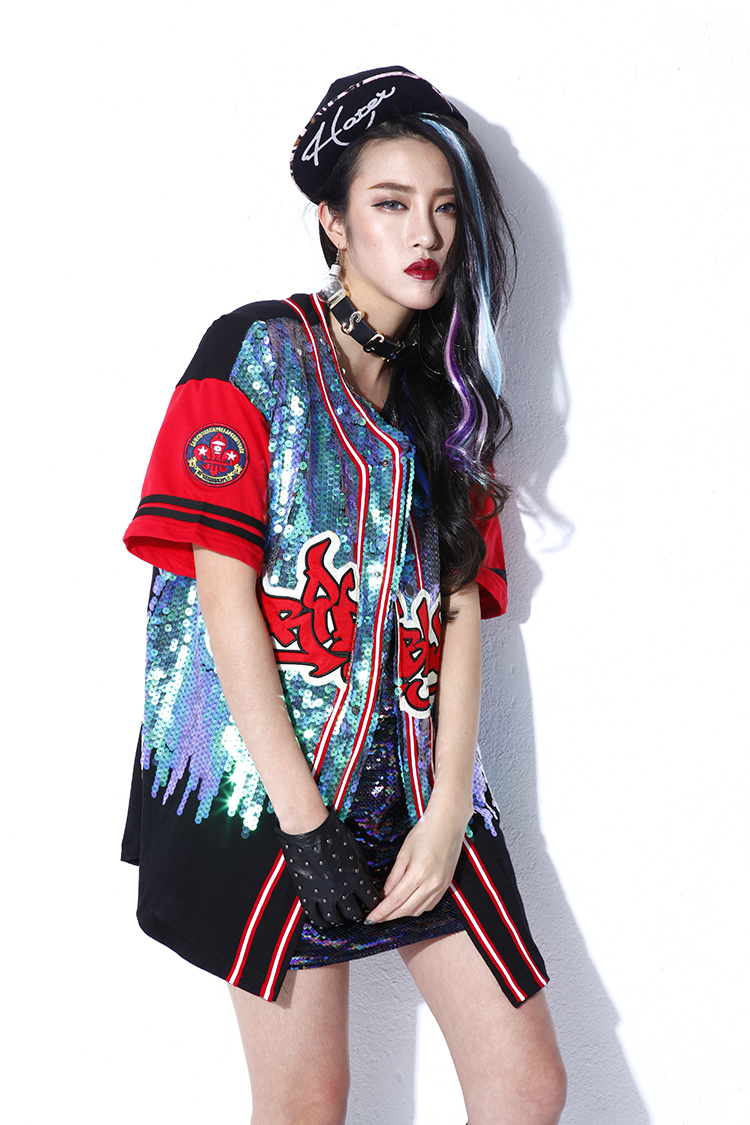 2015 summer street women letter patchwork sequins baseball jacket ...