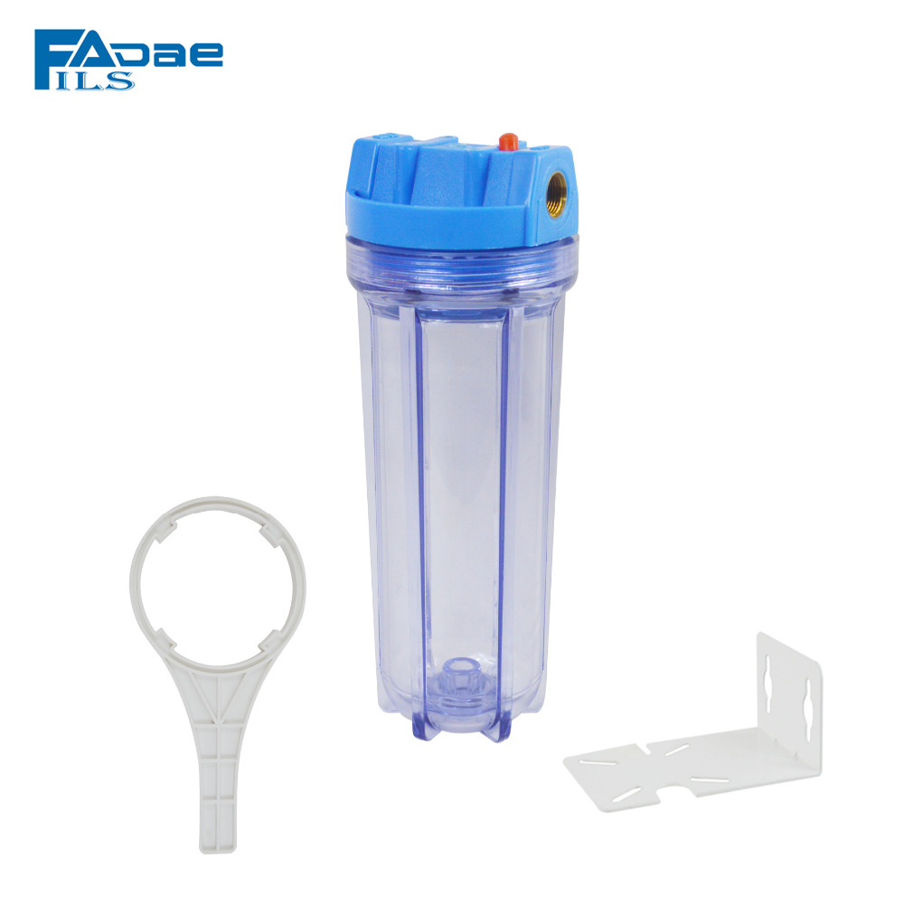 Transparent 10in. Whole house Water Filter Housing with Mounting bracket&Plastic wrench,1/2 Inlet&outlet connection high quality 10in transparent water filter housing include 2 1 2 x10in carbon block filter mounting bracekt wrench screw