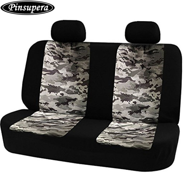 Universal Car Rear Seat Cover Safety Belts Access With Breathable Camouflage Mesh Back Bench