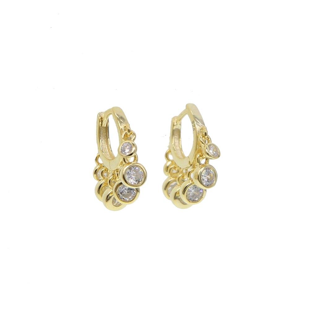 De moda de Color oro aro pendientes para las mujeres bohemio cz de declaración de cristal de la geometría de la Ronda 925 pendiente de plata de Pierce de la joyería